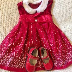 NWOT 4T Formal Red Christmas Fur Collar Dress